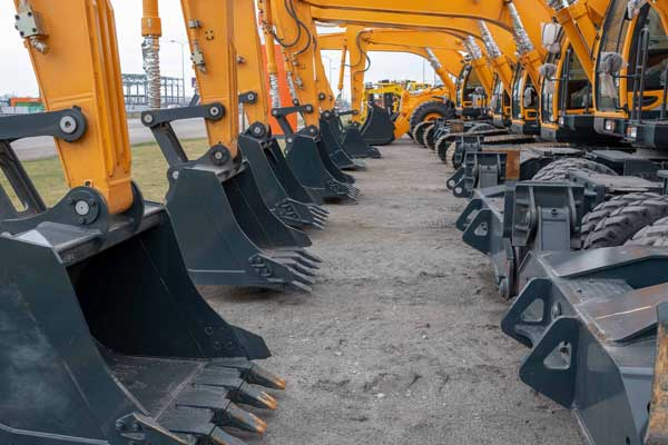 excavator machines in queue excavation works